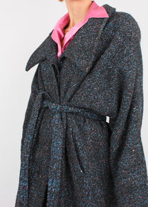 VINTAGE COTTON CANDY SPECKLED WOOL TRENCH COAT