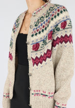 Load image into Gallery viewer, VINTAGE RASPBERRY PATTERNED WOOL CARDIGAN (S)