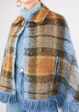 Load image into Gallery viewer, VINTAGE BLUE MOHAIR SHAWL