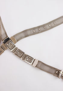 VINTAGE SILVER GUESS CHAIN BELT (L)