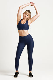 Wrapdrive luxe legging sports bra blue royal azure gym wear