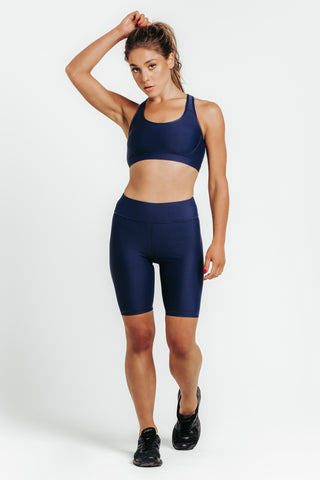 Wrapdrive luxe Biker shorts sports bra blue royal azure gym wear