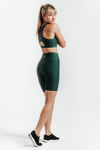 Wrapdrive luxe Biker shorts sports bra green eden gym wear