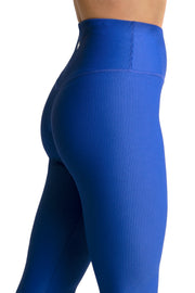 Wrapdrive plush ribbed legging blue ribbon women gym wear