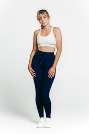 Wrapdrive luxe drawstring legging blue gym wear