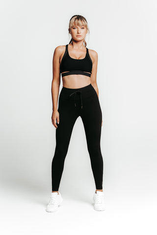 Wrapdrive luxe drawstring legging black gym wear