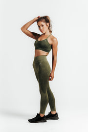 Wrapdrive seamless leggings sports bra activewear set green olive gym wear