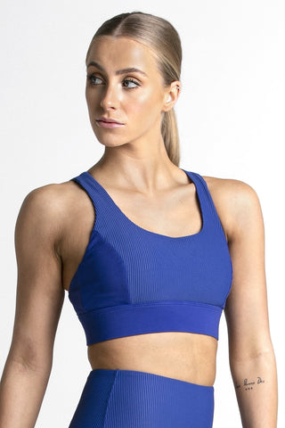 Wrapdrive plush ribbed sports bra blue gym wear women top