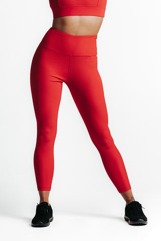 Wrapdrive plush ribbed legging red hot women gym wear