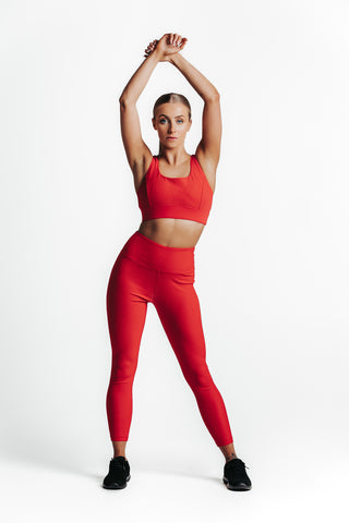 Wrapdrive plush ribbed sports bra red gym wear women top