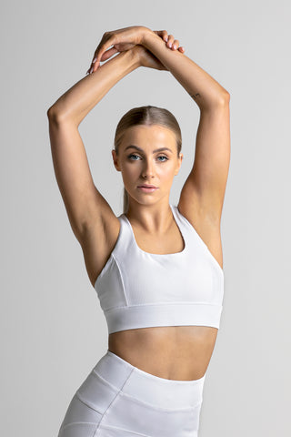 Wrapdrive plush ribbed sports bra snow white gym wear women top