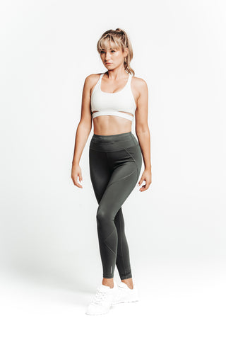 wrapdrive luxe drawstring legging sports bra set white space grey