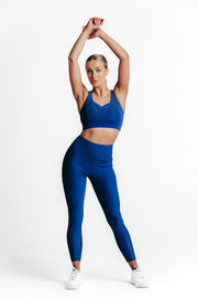 wrapdrive plush rush blue ribbon leggings sports bra