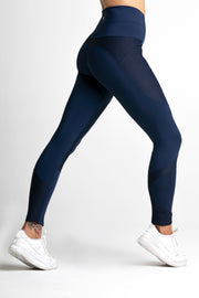 Wrapdrive plush ribbed legging midnight blue women gym wear