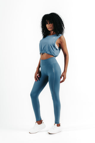 wrapdrive seamless spirit airy leggings sports bra stone blue set