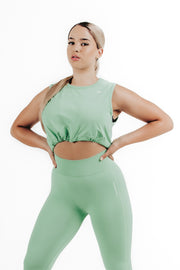 wrapdrive seamless spirit airy leggings sports bra mint green set