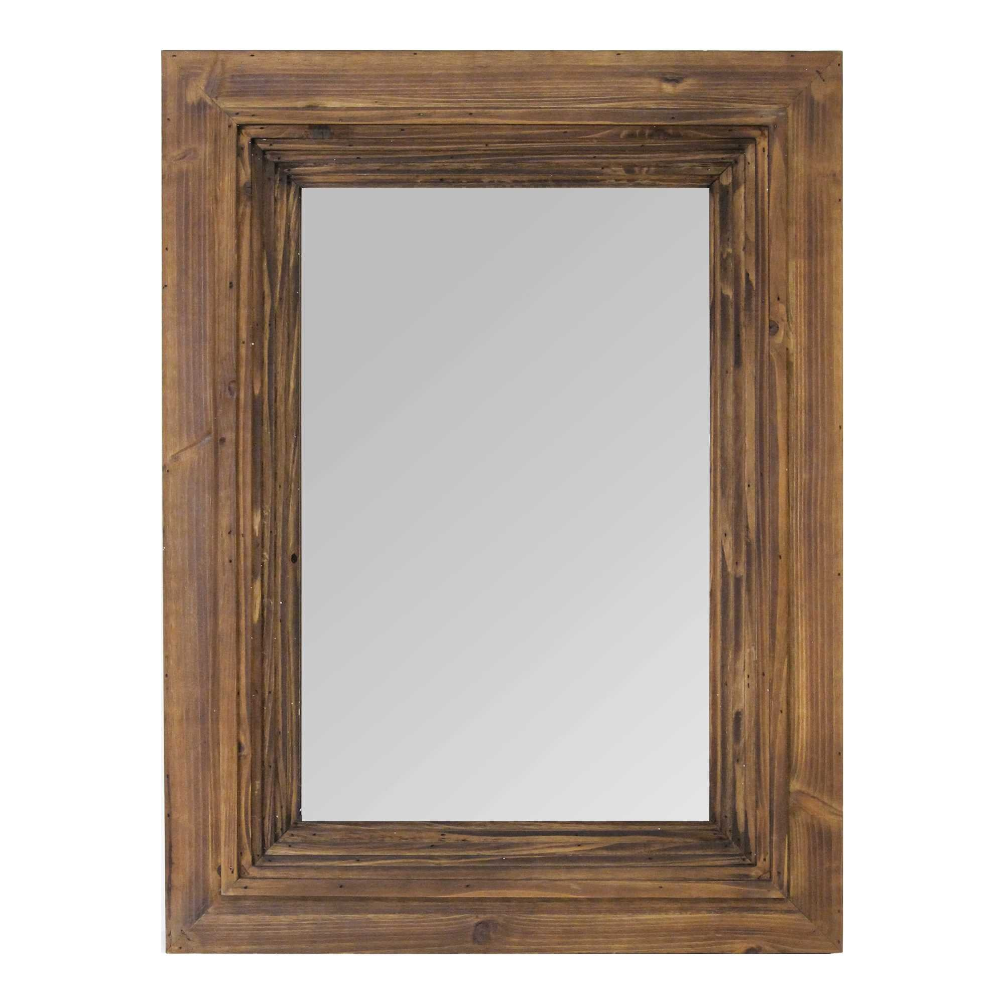 "23.5"" X 2"" X 31.5"" Cherry Wood Glass Mdf Fir Wood Detail Mirror"