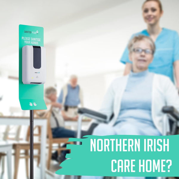 FREE FLOOR-STANDING SANITISING STATION FOR CARE HOMES
