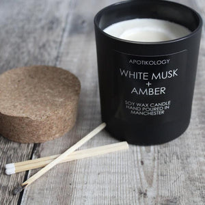 White Musk + Amber Scented Candle