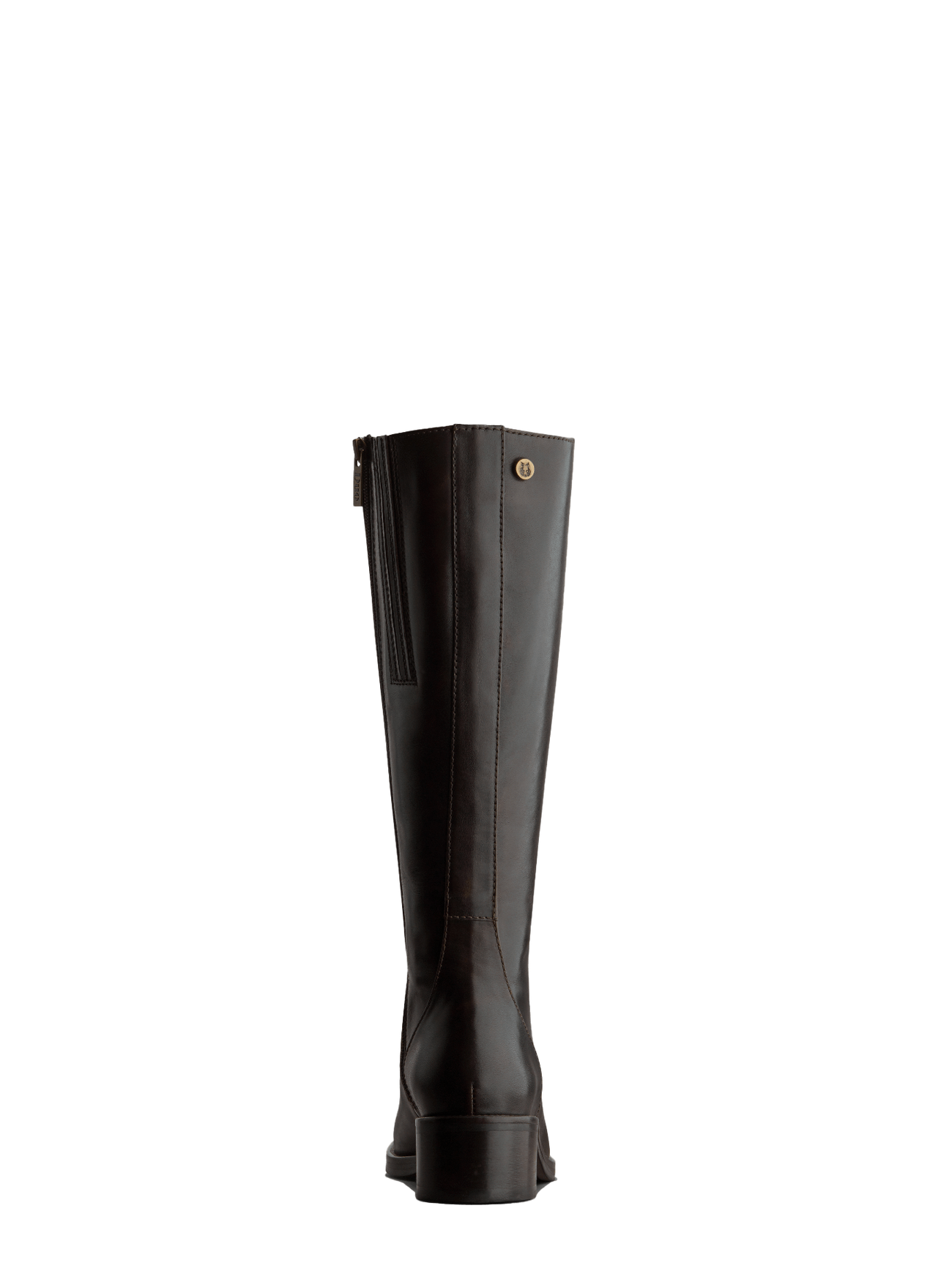 This brown boot has a smooth elegant back panel and a shorter knee high cut.