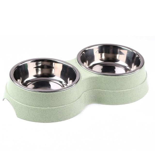 Dog Double Bowl Puppy Feeder Cute Stainless Steel Pets Drinking Dish