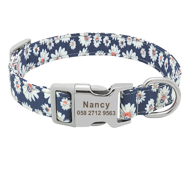 Customized Printed Pet Collar Nylon Dog Collar Personalized Free Engraving
