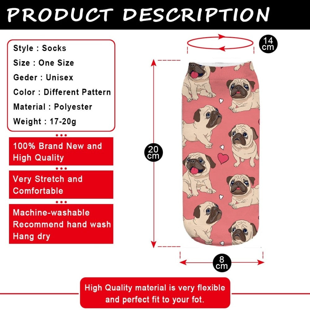 RUNNING CHICK cute pugs socks