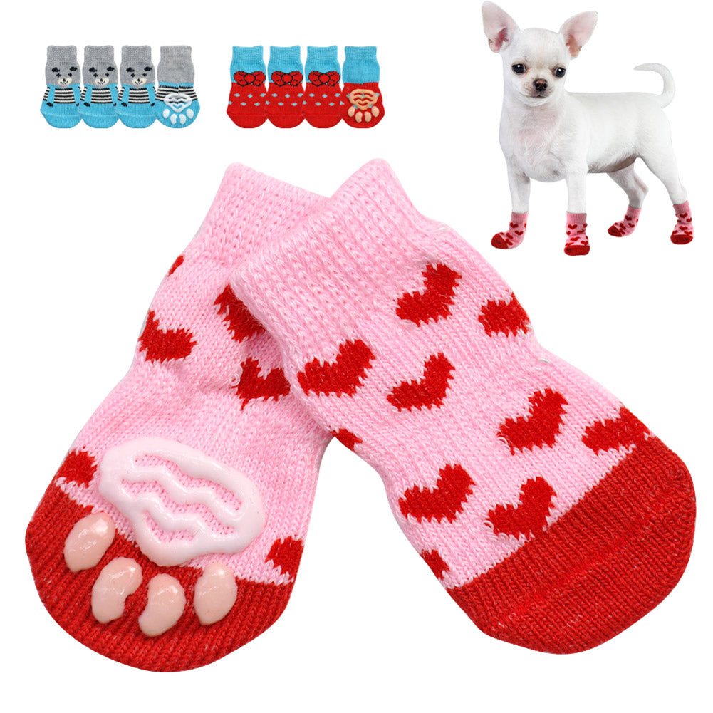 4pcs/Set Cute Puppy Dog Knit Socks