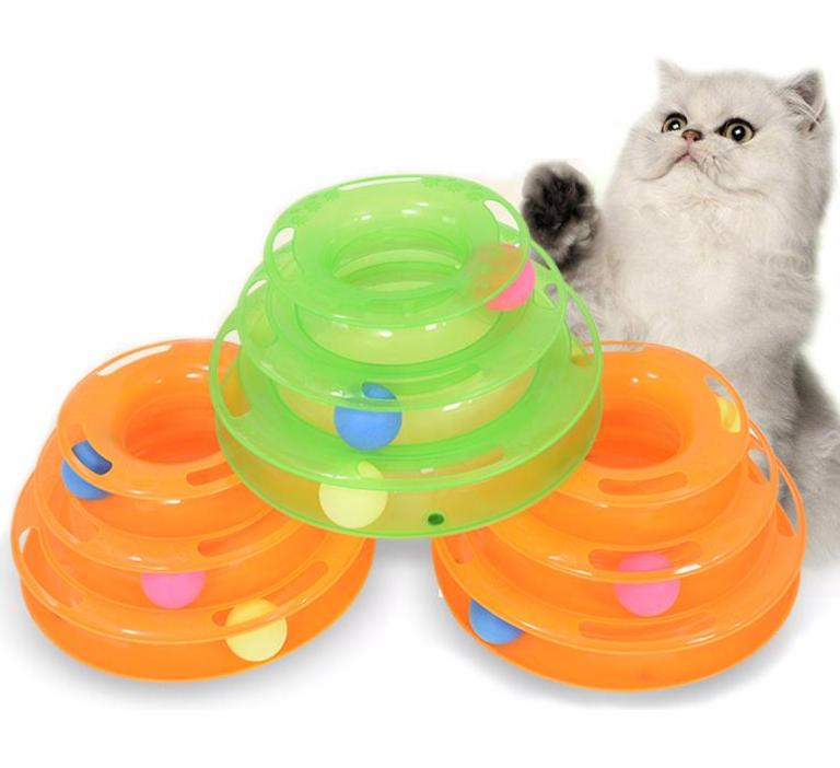 Three level triple disc cat toy