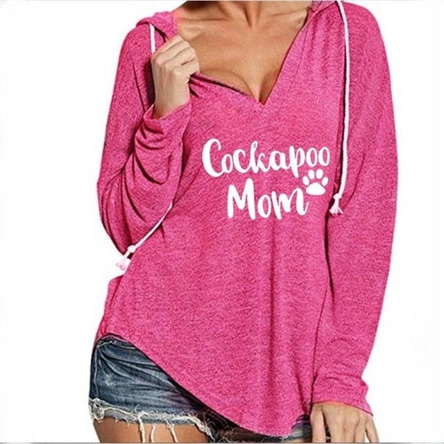 COCKAPOO MOM Letters Print V-Neck Hoodie Tee Shirt