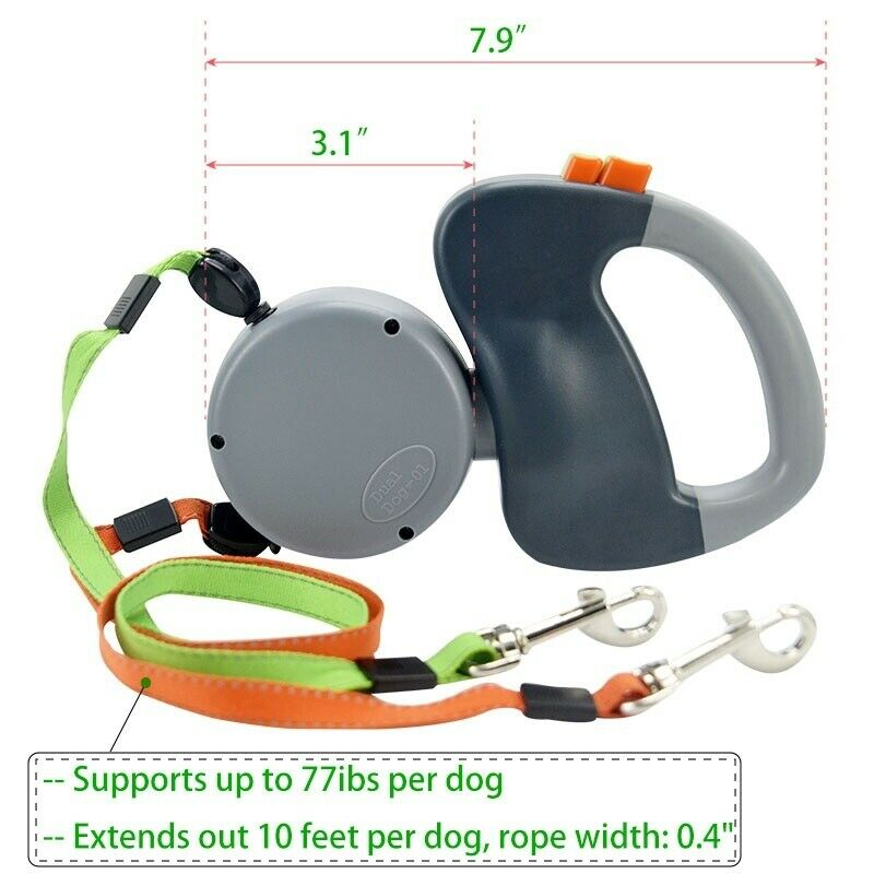 3 Colors Roulette For Dogs 2 In 1 Auto Retractable Double Leashes