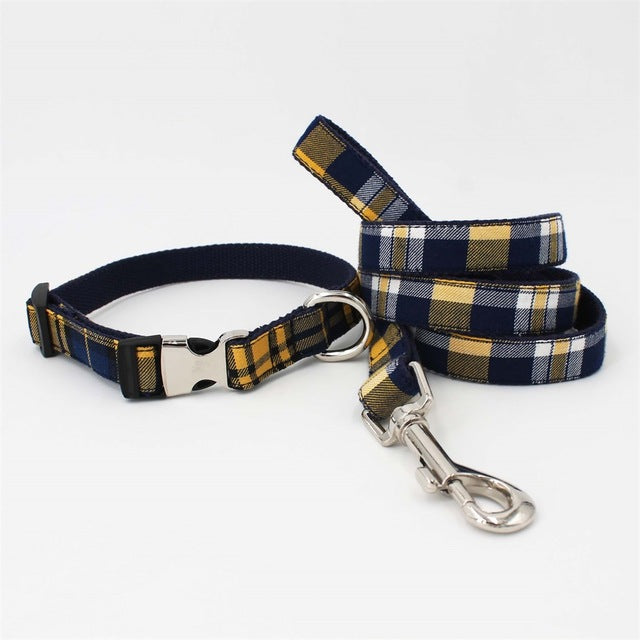 Plaid dog  collar with bow tie