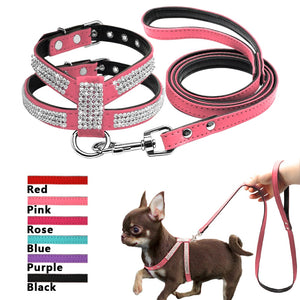 Small Dog Harness set Suede Leather Rhinestone