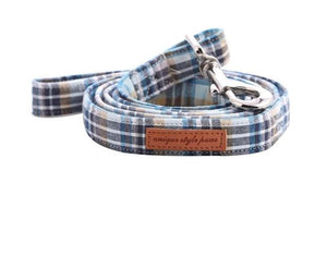 Light Blue Plaid  Cotton Dog Collar with Bow tie or Leash Set