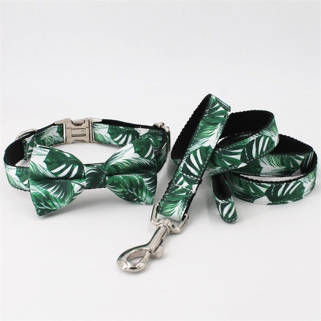 Tropical Leaves Dog Collar and Leash Set with Bow Tie