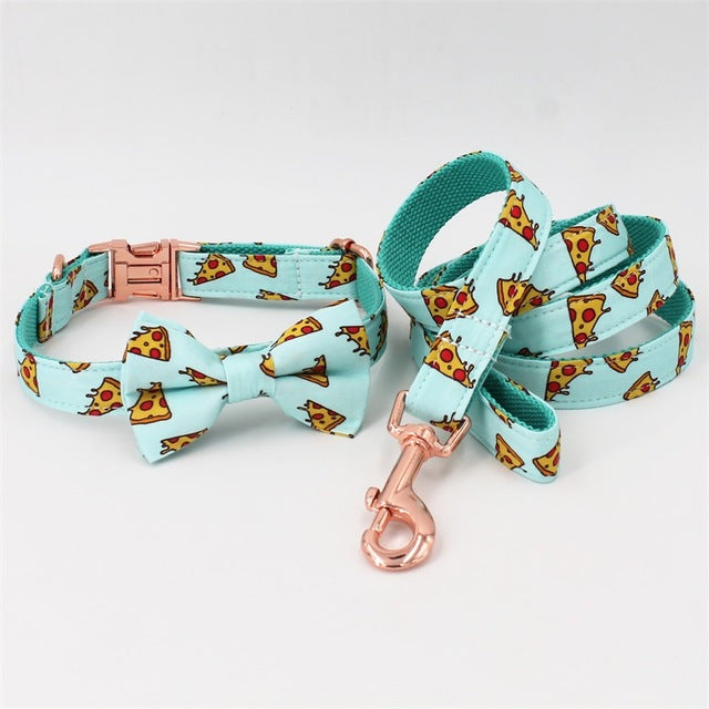Pizza Pattern dog collar and leash with bow tie