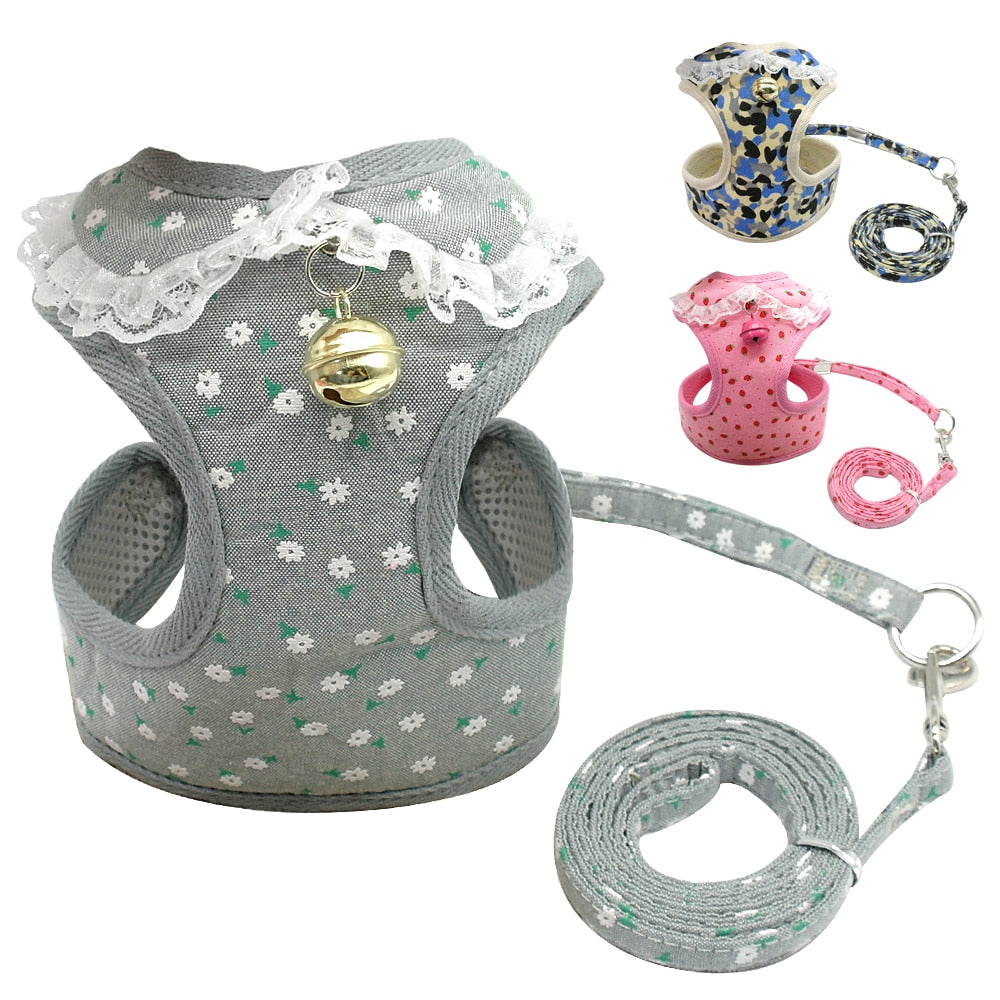 Soft Mesh Puppy Harness and Leash Set with Bell