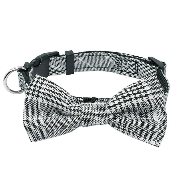 Fashion Plaid Dog Collar With Bowtie Adjustable Bowknot Collars