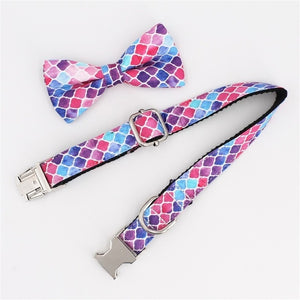 Dream Purple Dog collar Bow tie Leash Sets