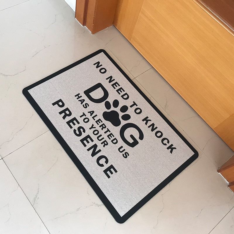 Rubber Doormat Entrance Floor Mat No Need To Knock Dog Has Alerted Us To Your Presence