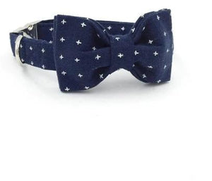 Dark Blue Dog Collar and LeashSet with Bowtie Metal Buckle Adjustable