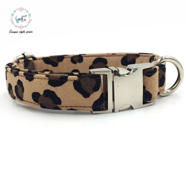 Leopard Print Dog Collar with Bow Tie Cotton Fabric Metal Buckle