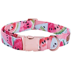 Watermelon Pink Cotton Fabric Dog Collar and Leash Set with Bow Tie