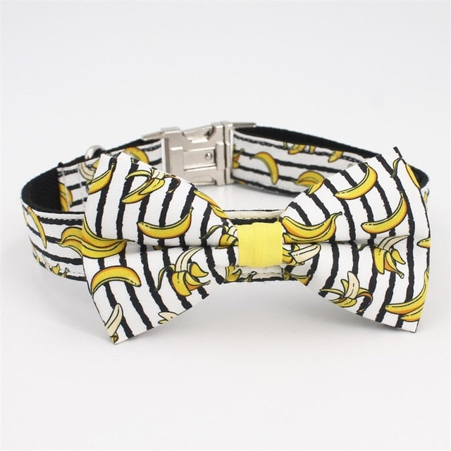 Banana Dog Collar Bow Tie  with Metal Buckle