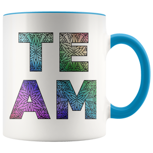 Team Watercolors Diversity Accent Coffee Cup Blue