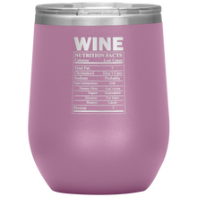 Load image into Gallery viewer, Wine Nutritional Facts Wine Tumbler Light Purple