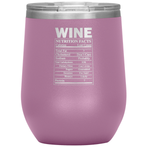 Wine Nutritional Facts Wine Tumbler Light Purple