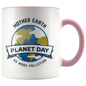Mother Earth Planet Day Accent Ceramic Coffee Cup Pink