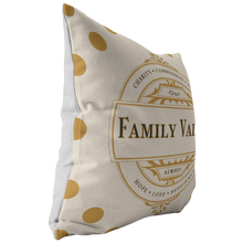Load image into Gallery viewer, Decorative Accent Family Values Throw Pillows & Cases Beige Polyester Broadcloth Angle