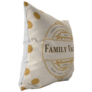 Decorative Accent Family Values Throw Pillows & Cases Beige Polyester Broadcloth Angle